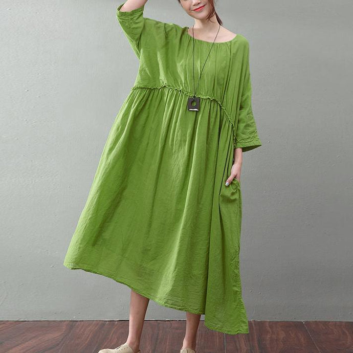 top quality green cotton dresses trendy plus size high waist cotton clothing dress top quality big hem kaftans