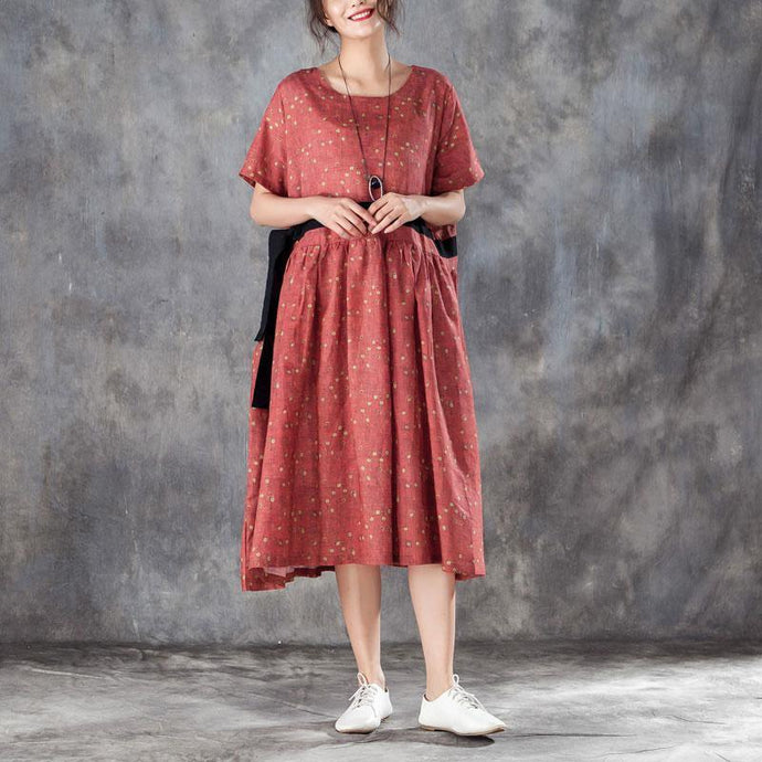 top quality linen caftans stylish Printed Lacing Short Sleeve Dresses Red Pleated Dress