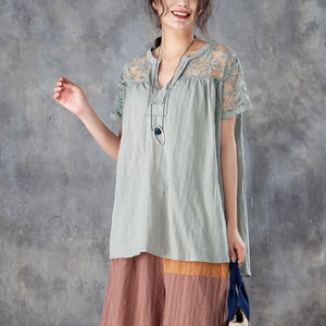 top quality linen cotton tops plus size clothing Casual V Neck Short Sleeve Splicing Gray Tops
