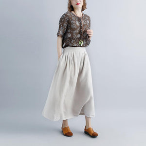 top quality linen maxi dress oversized Women Beige Casual Summer Pockets Long Skirts