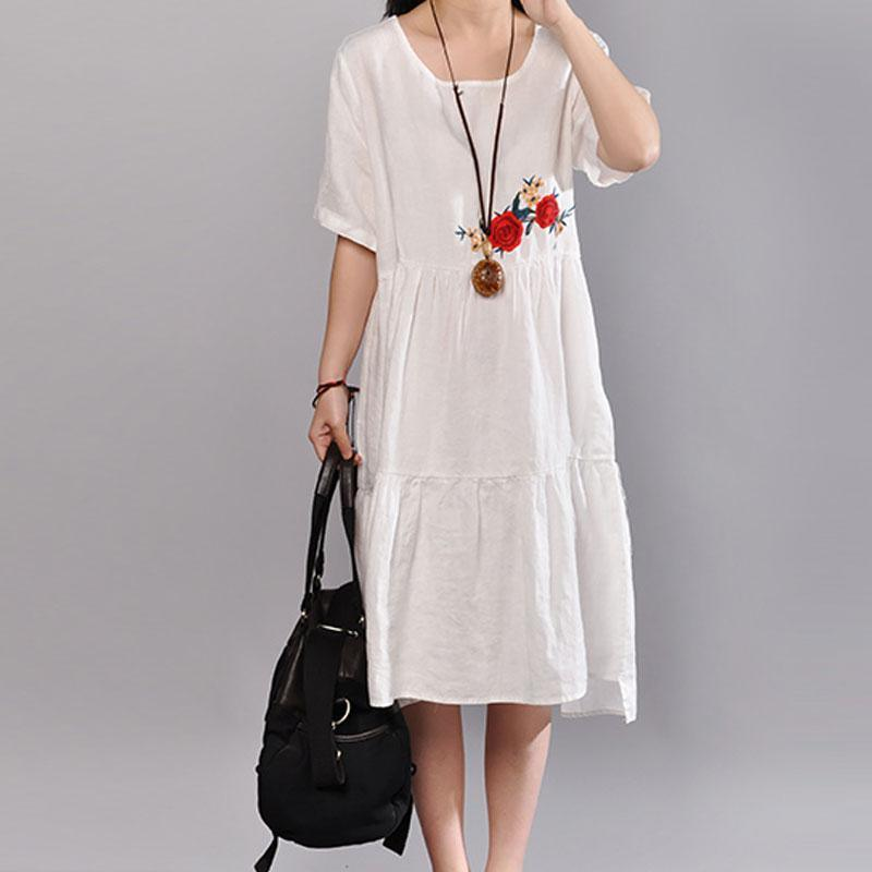 top quality linen summer dress trendy plus size Embroidered Round Neck Short Sleeve Flax White Dress