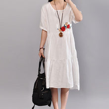 Load image into Gallery viewer, top quality linen summer dress trendy plus size Embroidered Round Neck Short Sleeve Flax White Dress