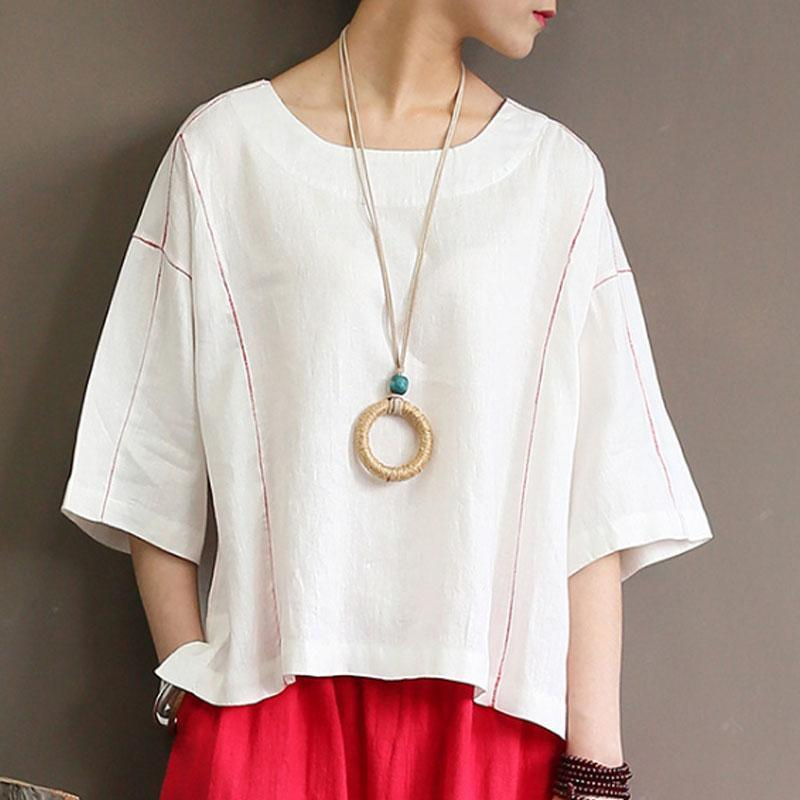 top quality linen tops casual Loose Round Neck 12 Sleeve Women White Tops