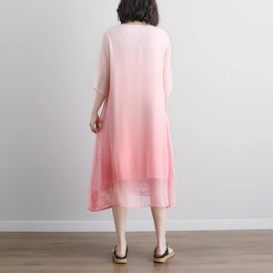top quality long cotton dress stylish Summer Fake Two-piece Pockets Retro Pink Dress