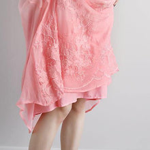 Load image into Gallery viewer, top quality long cotton dress stylish Summer Fake Two-piece Pockets Retro Pink Dress
