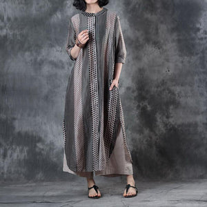 top quality patchwork  silk linen dresses Loose fitting side open traveling dress vintage long sleeve gown