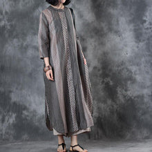Laden Sie das Bild in den Galerie-Viewer, top quality patchwork  silk linen dresses Loose fitting side open traveling dress vintage long sleeve gown