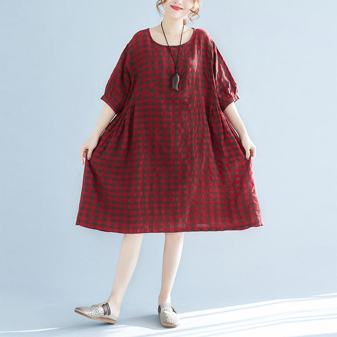 top quality red plaid linen dresses plus size traveling clothing casual o neck short sleeve linen clothing dress