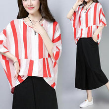 Load image into Gallery viewer, top quality summer cotton tops plus size Casual Summer Women Short Sleeve Red Stripe T-shirt