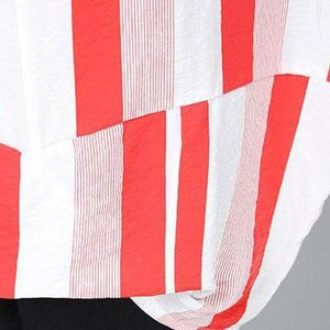 top quality summer cotton tops plus size Casual Summer Women Short Sleeve Red Stripe T-shirt
