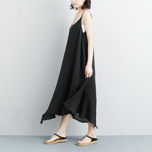 Load image into Gallery viewer, top quality summer dress plussize Cotton Linen Summer Sleeveless Black Vest Dress