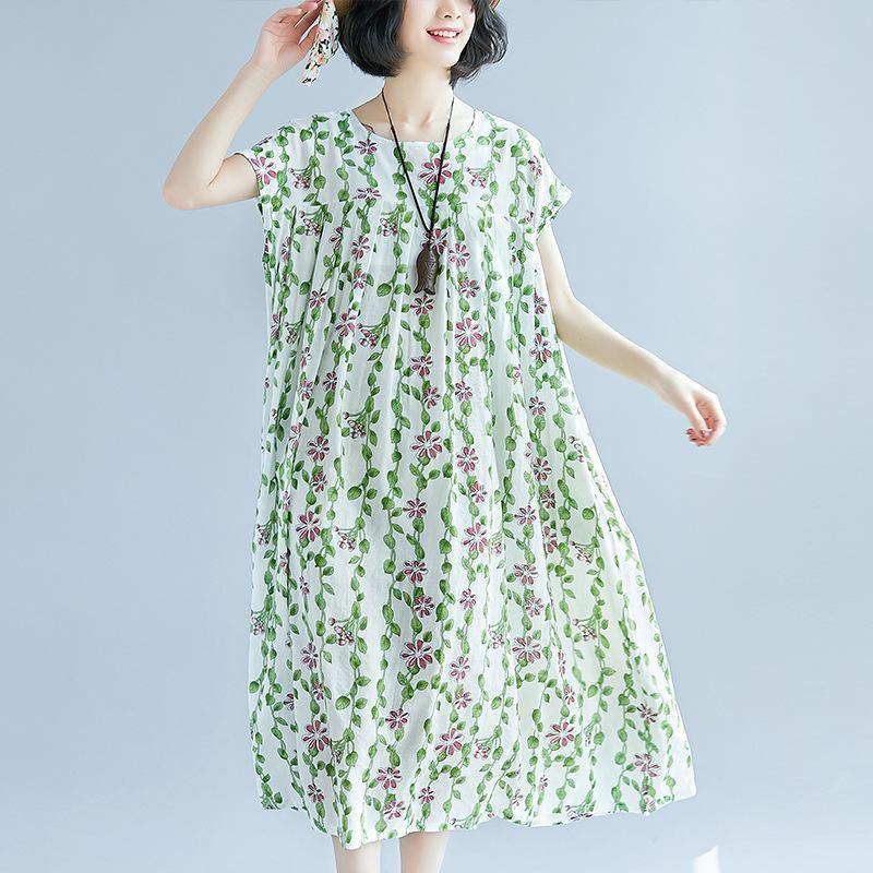 top quality white color green floral cotton dress oversized patchwork traveling dress casual short sleeve cotton caftans