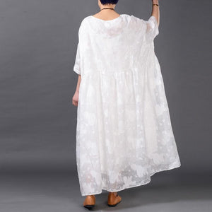 top quality white silk linen dress plus size clothing jacquard traveling clothing top quality layered linen caftans