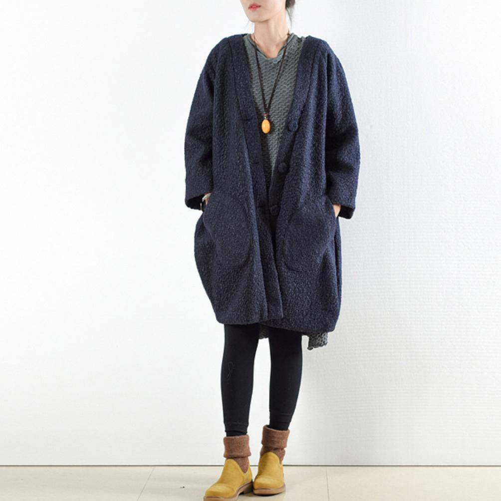 top quality wool dark blue coat plus size hooded cardigans Fine original design long jackets