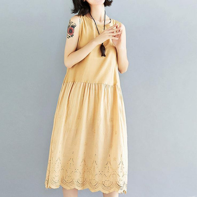 top quality yellow linen dress plus size clothing hollow out traveling dress casual sleeveless kaftans