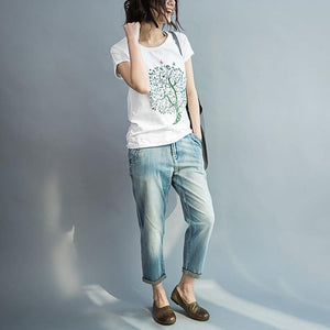 tree and peace white cotton t shirt oversize woman tops blouses