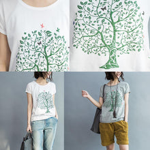 Laden Sie das Bild in den Galerie-Viewer, tree and peace white cotton t shirt oversize woman tops blouses