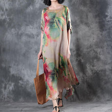 Load image into Gallery viewer, trendy nude prints summer dress o neck bracelet sleeved floor length dress big hem summer dress