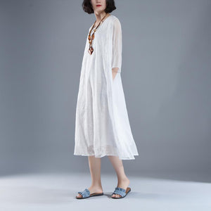 trendy summer maxi dress Elegant Summer Fake Two-piece Retro White Embroidery Dress