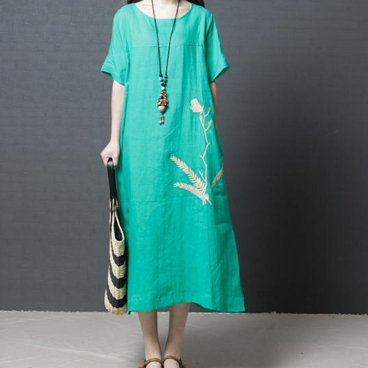 stylish green  long linen dresses trendy plus size side open linen clothing dresses Elegant o neck gown