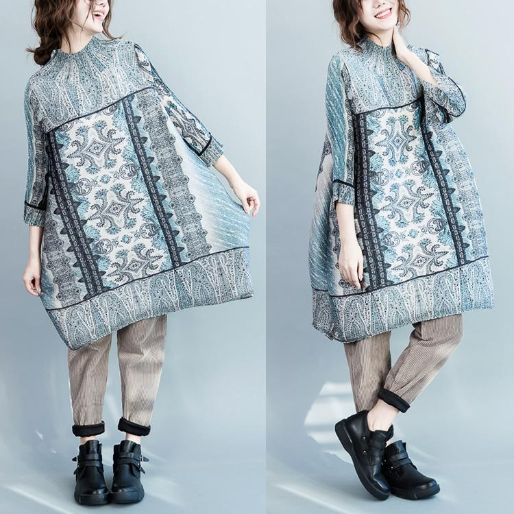 unique Blue engineered print cotton dresses long sleeve plus size dress cotton clothing