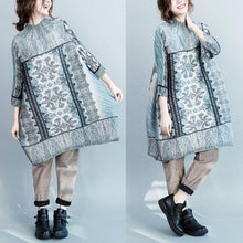 Load image into Gallery viewer, unique Blue engineered print cotton dresses long sleeve plus size dress cotton clothing