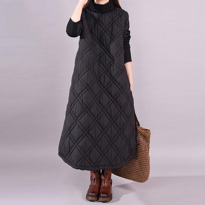 vid patchwork cotton winter dresses Neckline black high neck Kaftan Dress