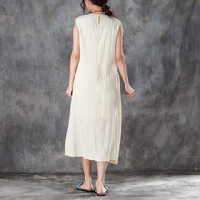 Load image into Gallery viewer, vintage Midi cotton dresses trendy plus size Women Round Neck Sleeveless Jacquard Beige Dress