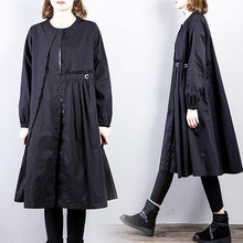 Load image into Gallery viewer, vintage black A line Dress Loose fitting patchwork shirt dresses2018 o neck blouses