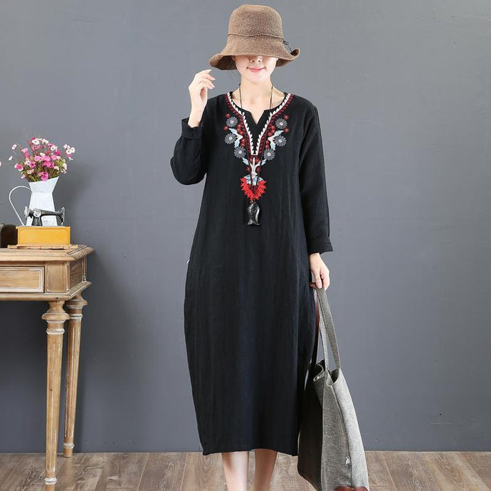 vintage black Midi linen dresses oversized holiday dresses v neck Fine embroidery linen dress