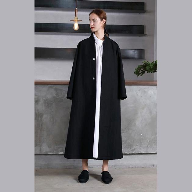vintage black Woolen Women oversize trench coat V neck wrinkled  jacket embroidery tie waist Coat