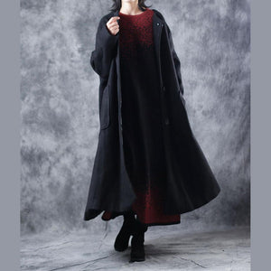 vintage black coat oversized o neck Wool Coat Fashion pockets large hem wool jackets