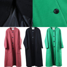 Load image into Gallery viewer, vintage black coat oversized o neck Wool Coat Fashion pockets large hem wool jackets