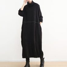 Laden Sie das Bild in den Galerie-Viewer, vintage black long sweaters plus size high neck pullover sweater 2018 baggy dresses sweater