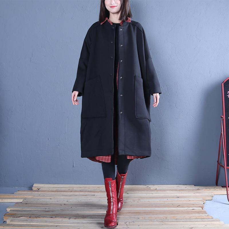 vintage black outwear plus size clothing Jackets & Coats fall women coats side open