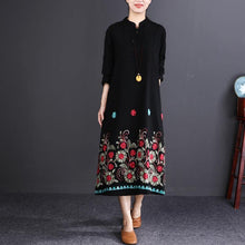 Load image into Gallery viewer, vintage black print cotton linen caftans plus size Stand baggy dresses vintage long sleeve dresses