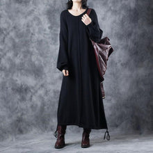 Load image into Gallery viewer, vintage black sweater dress plus size O neck drawstring pullover 2018 lantern sleeve winter dress