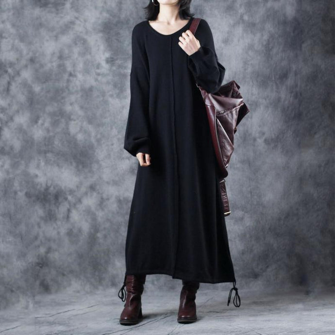 vintage black sweater dress plus size O neck drawstring pullover 2018 lantern sleeve winter dress