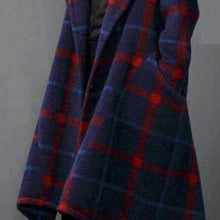 Laden Sie das Bild in den Galerie-Viewer, vintage blue Plaid Woolen Coats plus size long coats asymmetric woolen hooded outwear