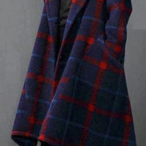 vintage blue Plaid Woolen Coats plus size long coats asymmetric woolen hooded outwear