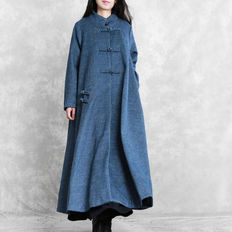 vintage blue Woolen Coats plus size Jackets & coat stand collar asymmetric