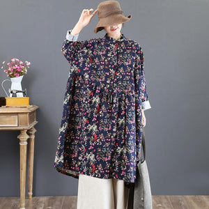 vintage blue cotton dresses oversize prints traveling dress New stand collar maxi dresses