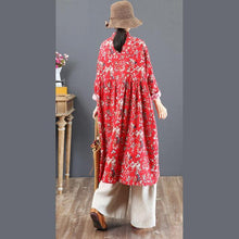 Load image into Gallery viewer, vintage blue cotton dresses oversize prints traveling dress New stand collar maxi dresses