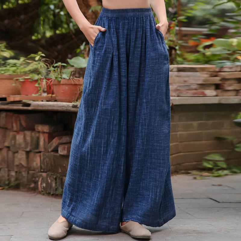 vintage blue elastic waist wide leg pants cotton linen women long pants