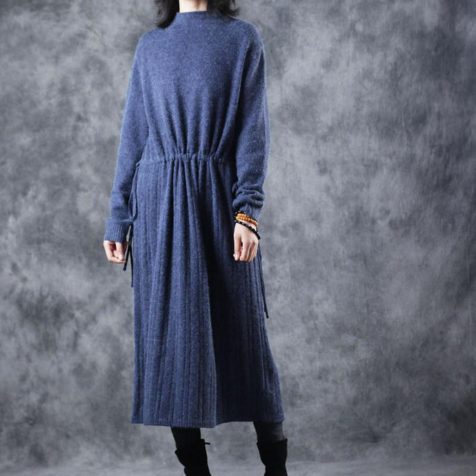 vintage blue sweater dresses fall fashion Turtleneck top quality tie waist long knit sweaters