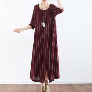 vintage burgundy striped natural linen dress  casual o neck gown vintage half sleeve maxi dresses