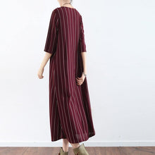 Load image into Gallery viewer, vintage burgundy striped natural linen dress  casual o neck gown vintage half sleeve maxi dresses