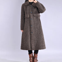 Load image into Gallery viewer, vintage chocolate Wool jackets trendy plus size lapel Button long coats