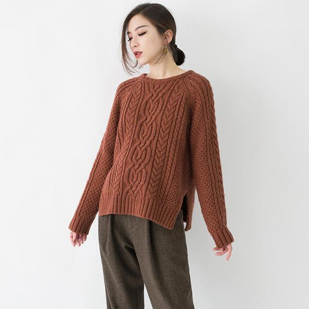 vintage chocolate chunky knit tops plus size O neck side open knit sweat tops Elegant cable knit blouse