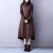 Load image into Gallery viewer, vintage chocolate cotton dresses trendy plus size high YZ-2018111427